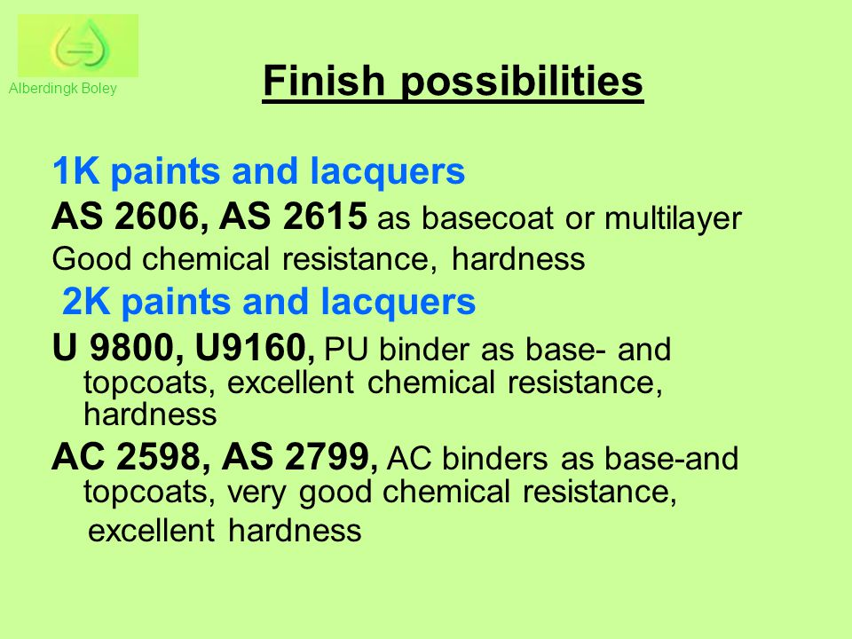 Finish possibilities 1K paints and lacquers
