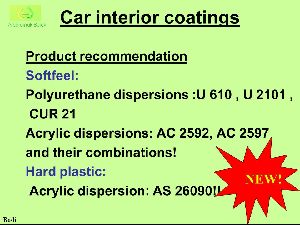 Car interior coatings Product recommendation Softfeel: