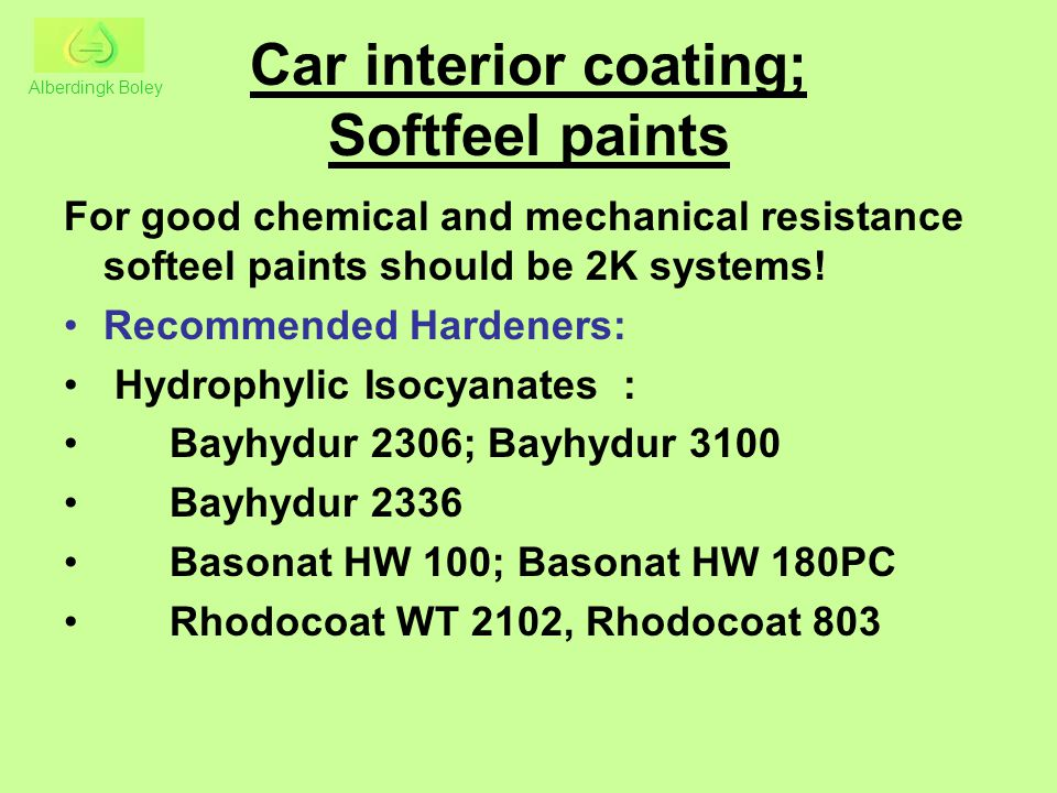 Car interior coating; Softfeel paints