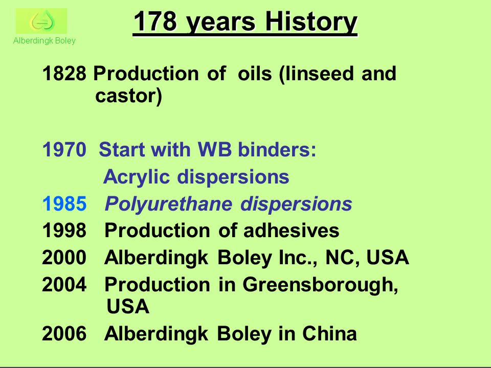 178 years History Production of oils (linseed and castor)