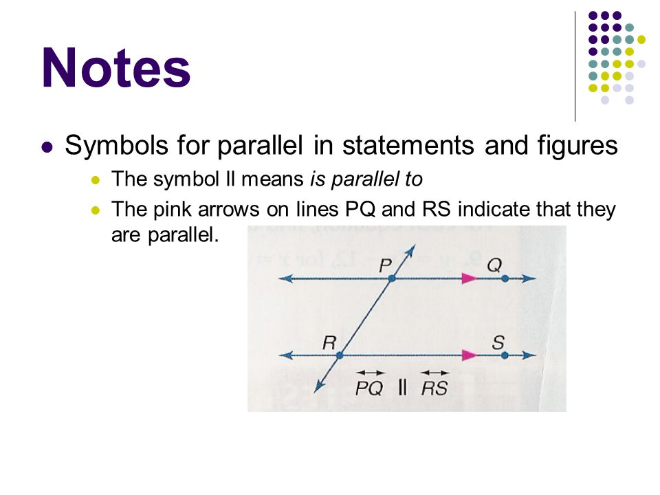 Notes Symbols for parallel in statements and figures