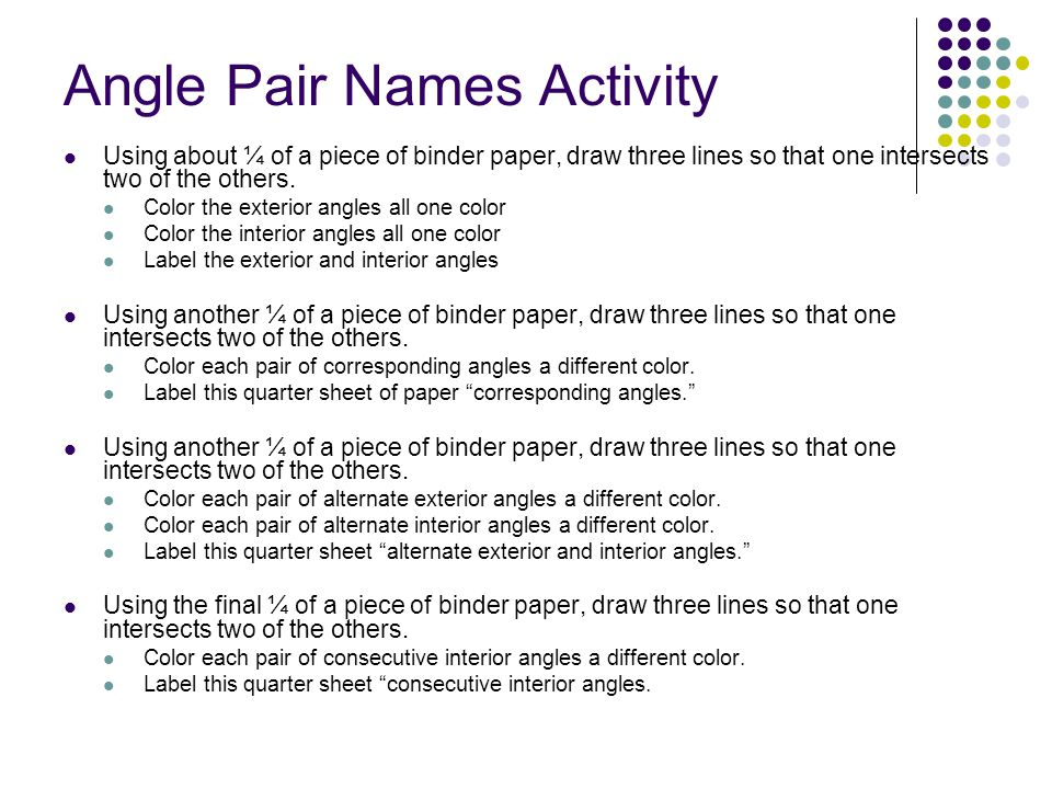 Angle Pair Names Activity