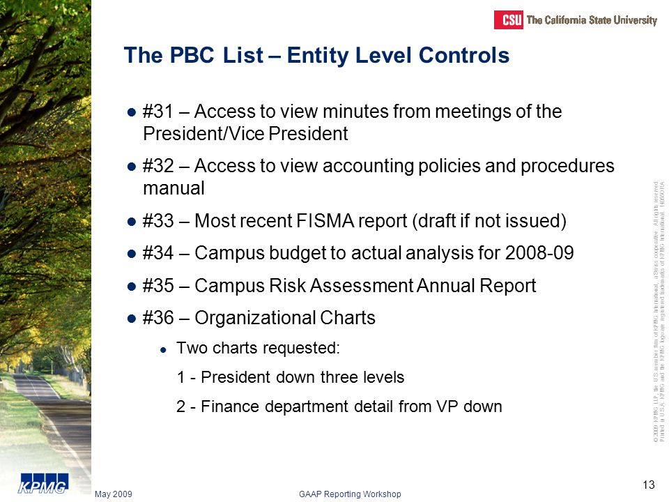 The PBC List – Entity Level Controls