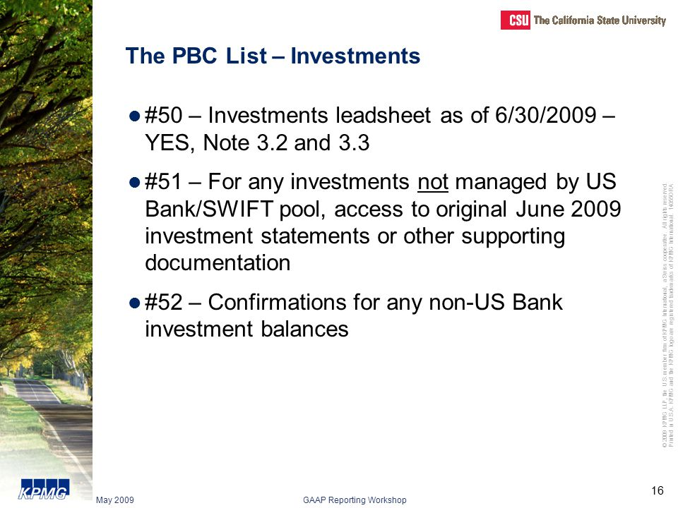 The PBC List – Investments