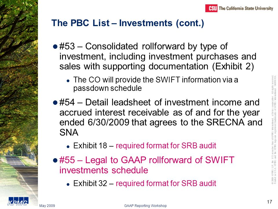 The PBC List – Investments (cont.)