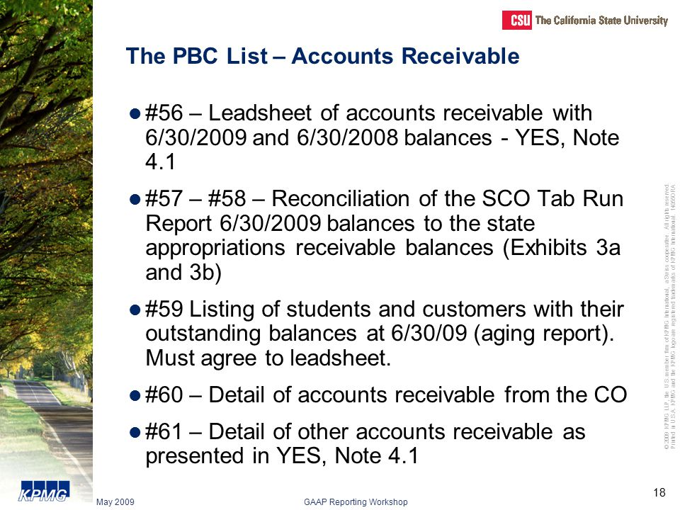 The PBC List – Accounts Receivable