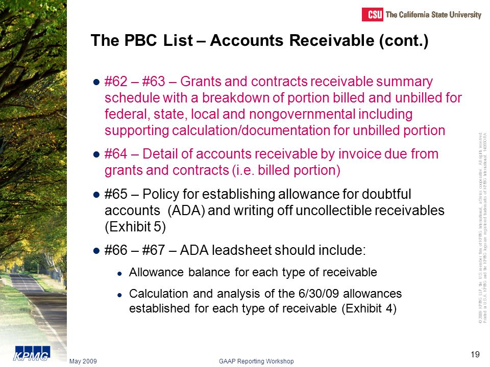 The PBC List – Accounts Receivable (cont.)