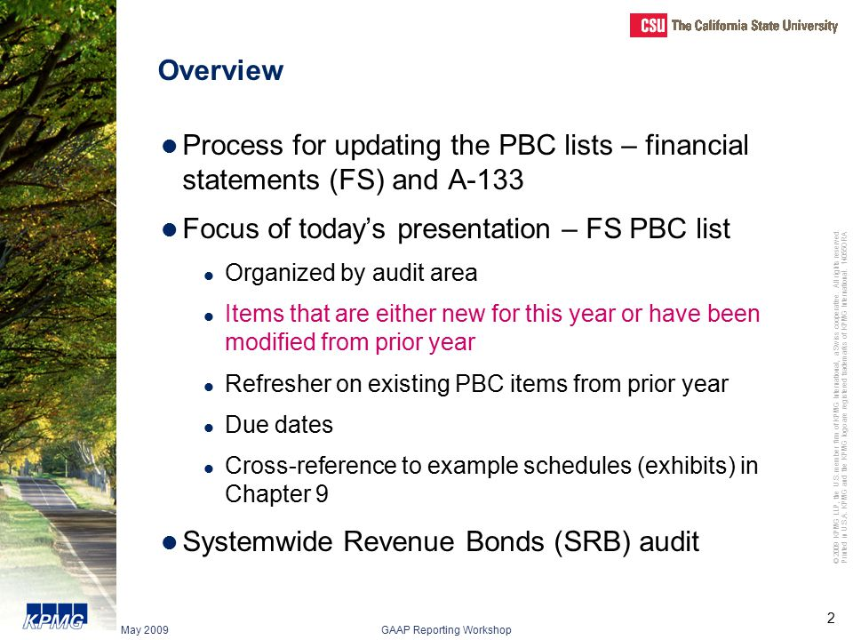 Focus of today's presentation – FS PBC list