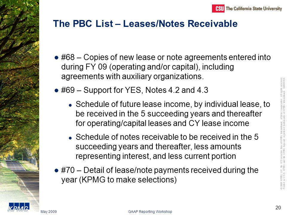 The PBC List – Leases/Notes Receivable