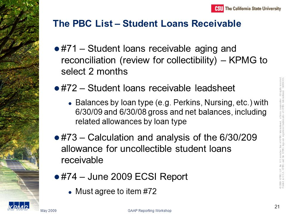 The PBC List – Student Loans Receivable