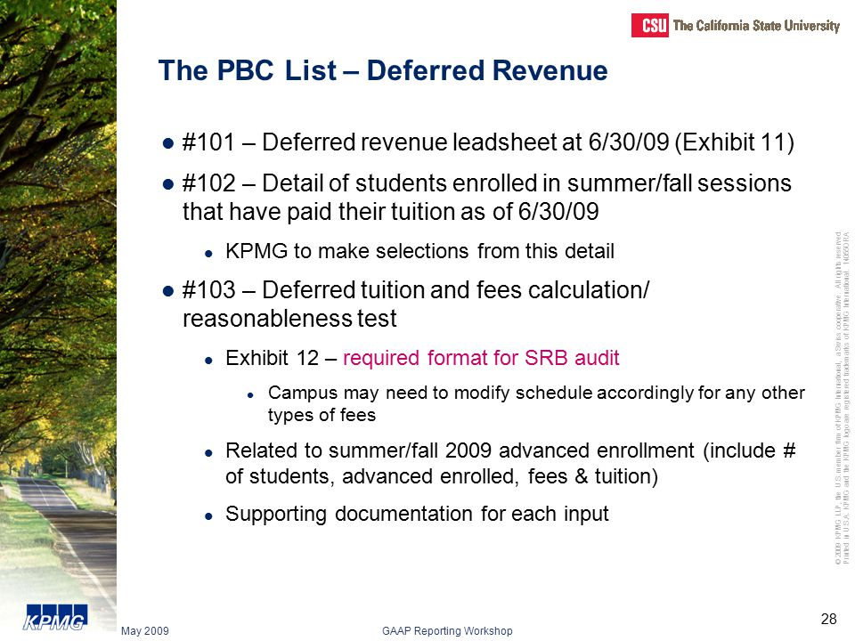 The PBC List – Deferred Revenue