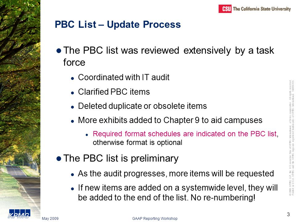PBC List – Update Process