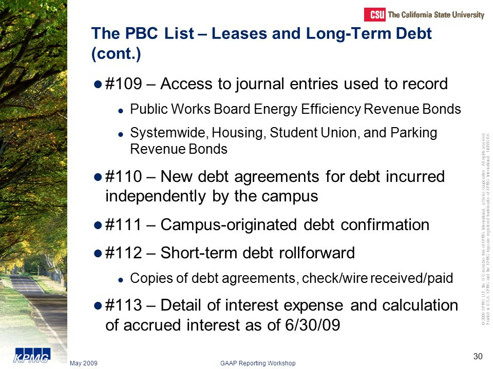 The PBC List – Leases and Long-Term Debt (cont.)