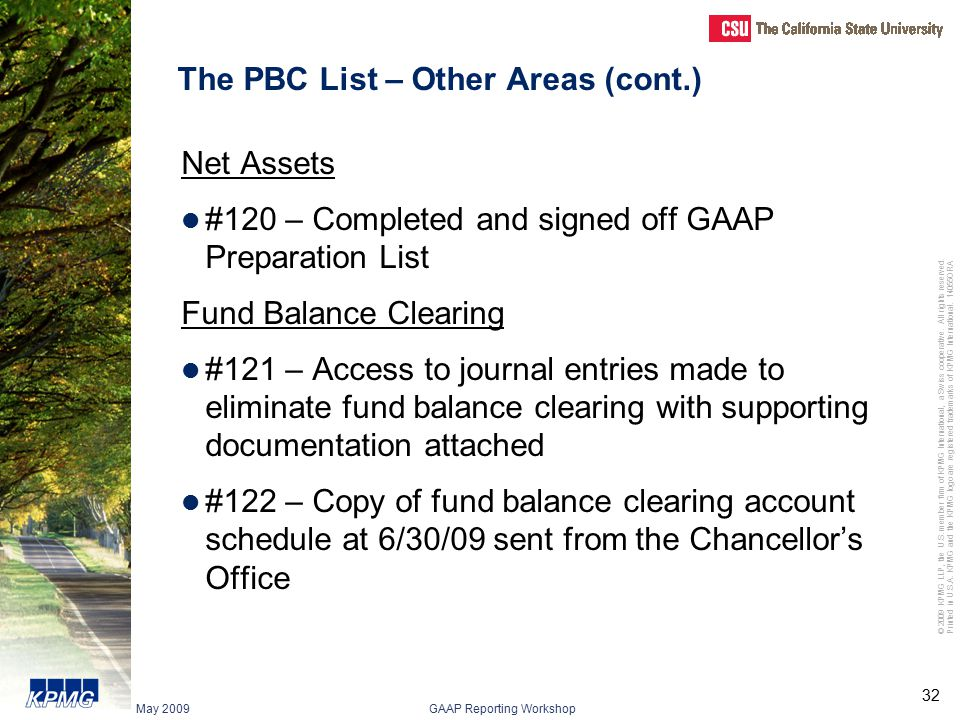 The PBC List – Other Areas (cont.)