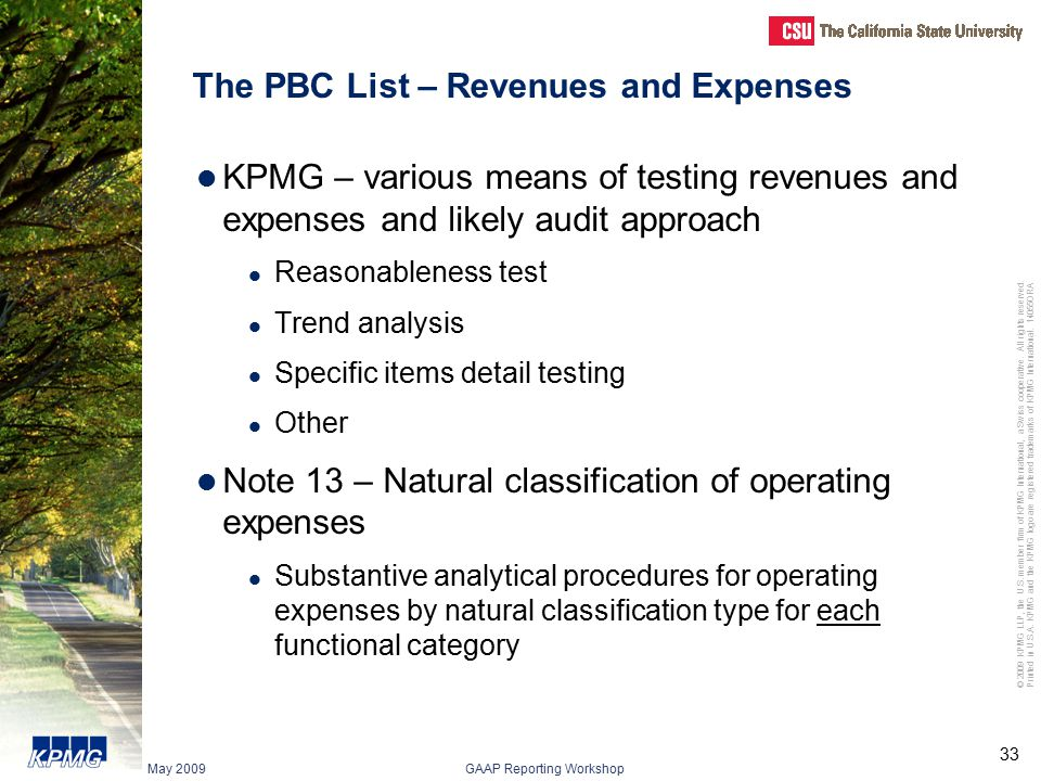 The PBC List – Revenues and Expenses