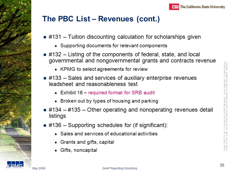 The PBC List – Revenues (cont.)