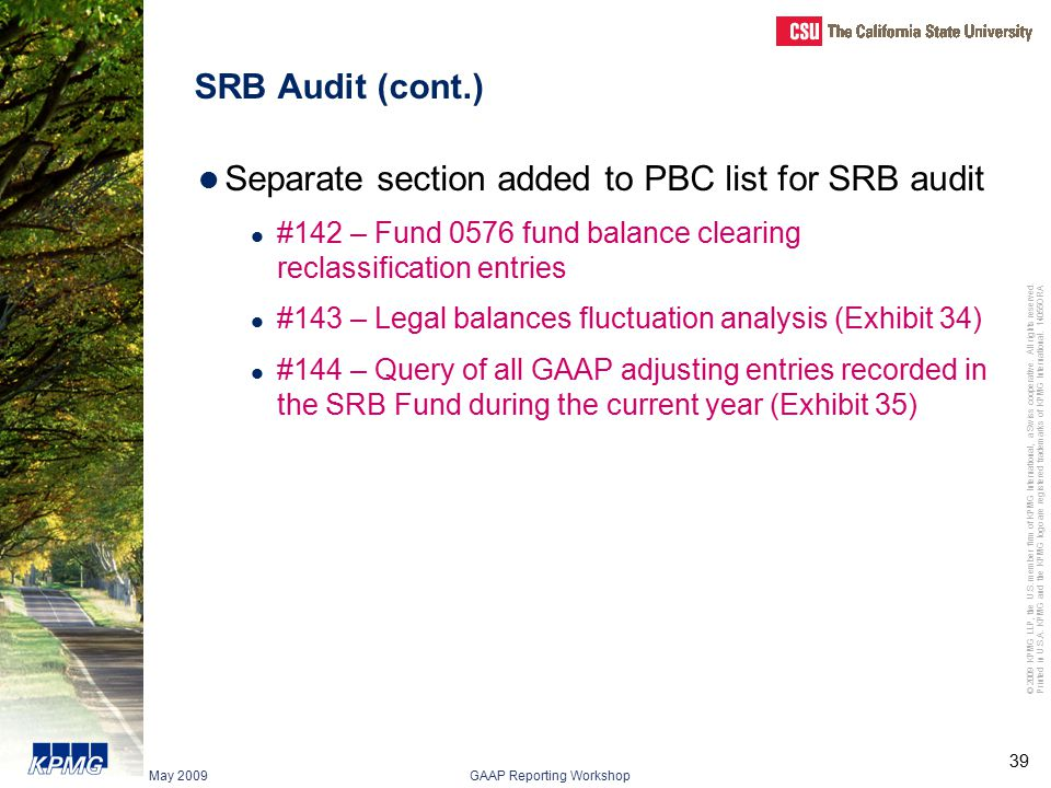 Separate section added to PBC list for SRB audit