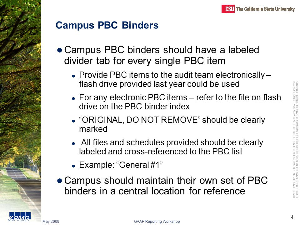 Campus PBC Binders Campus PBC binders should have a labeled divider tab for every single PBC item.