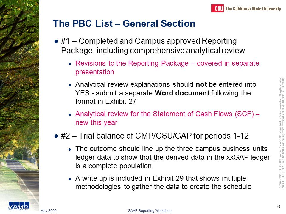 The PBC List – General Section