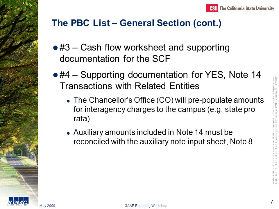 The PBC List – General Section (cont.)