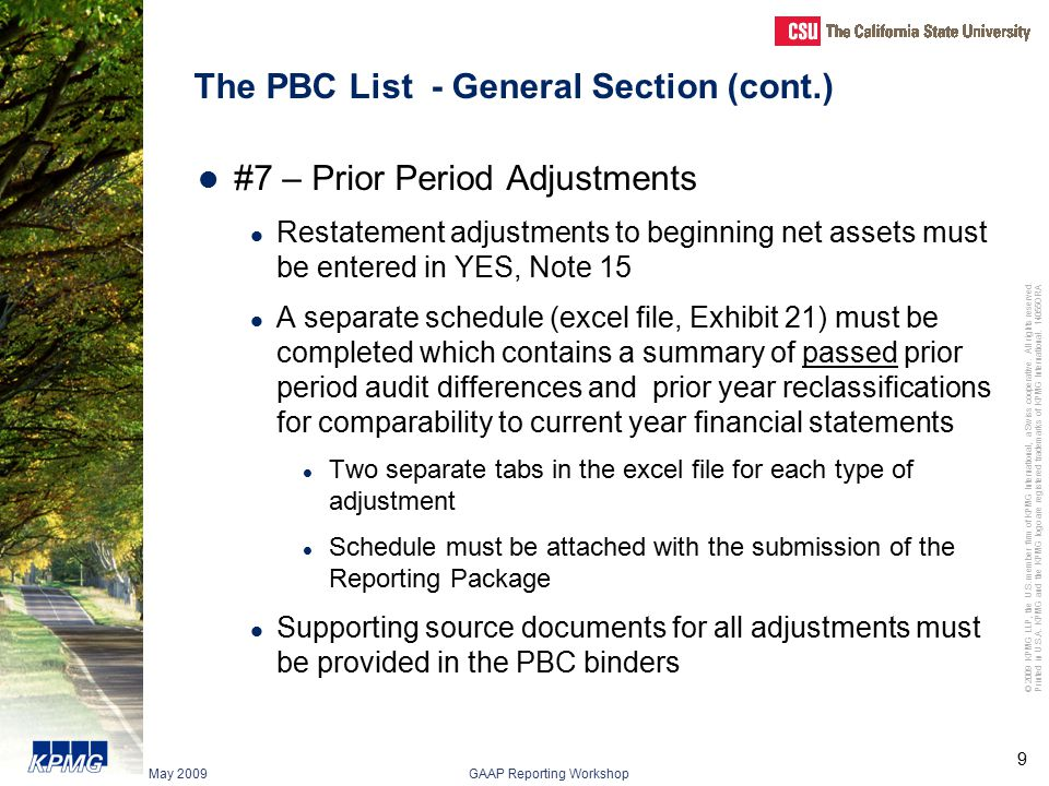 The PBC List - General Section (cont.)