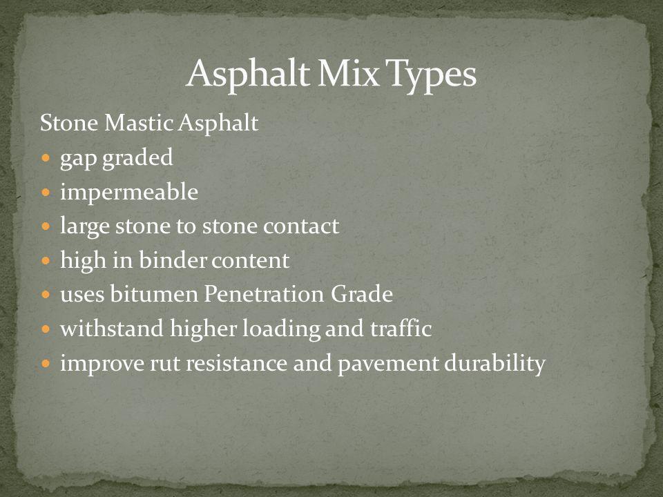 Asphalt Mix Types Stone Mastic Asphalt gap graded impermeable