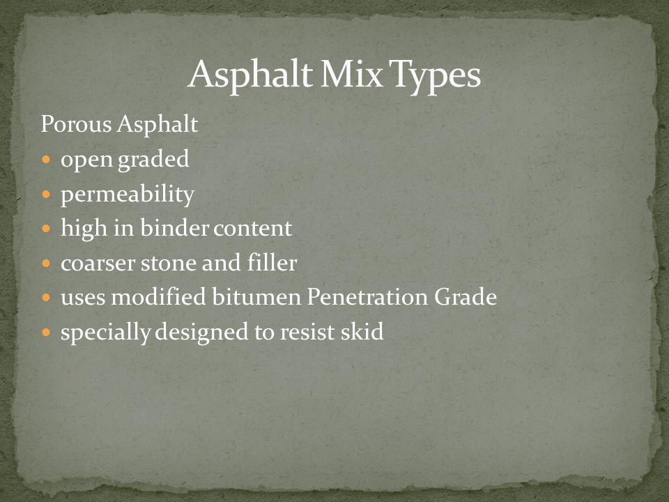 Asphalt Mix Types Porous Asphalt open graded permeability
