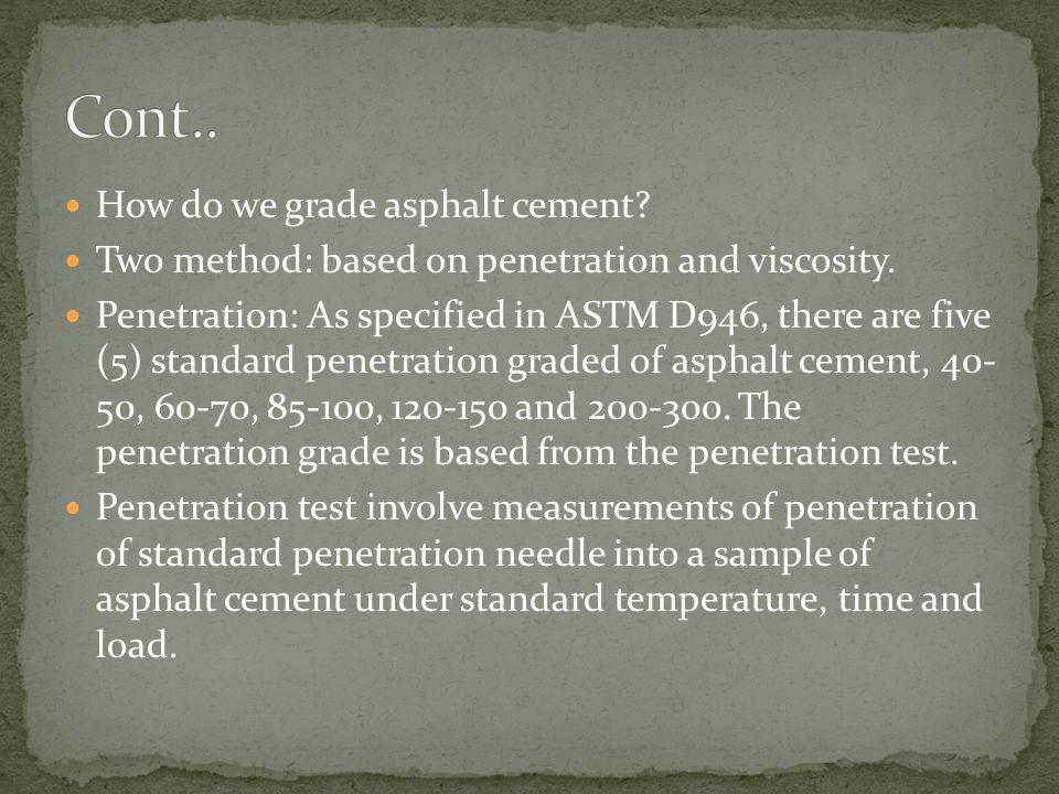 Cont.. How do we grade asphalt cement