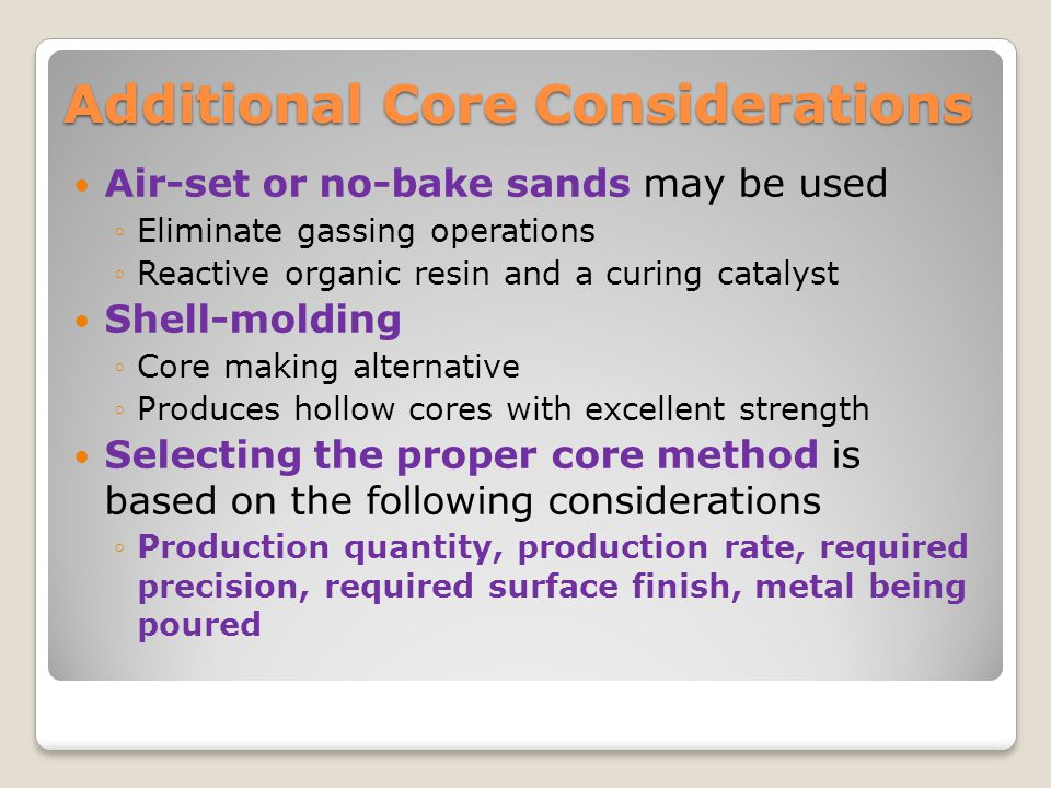 Additional Core Considerations