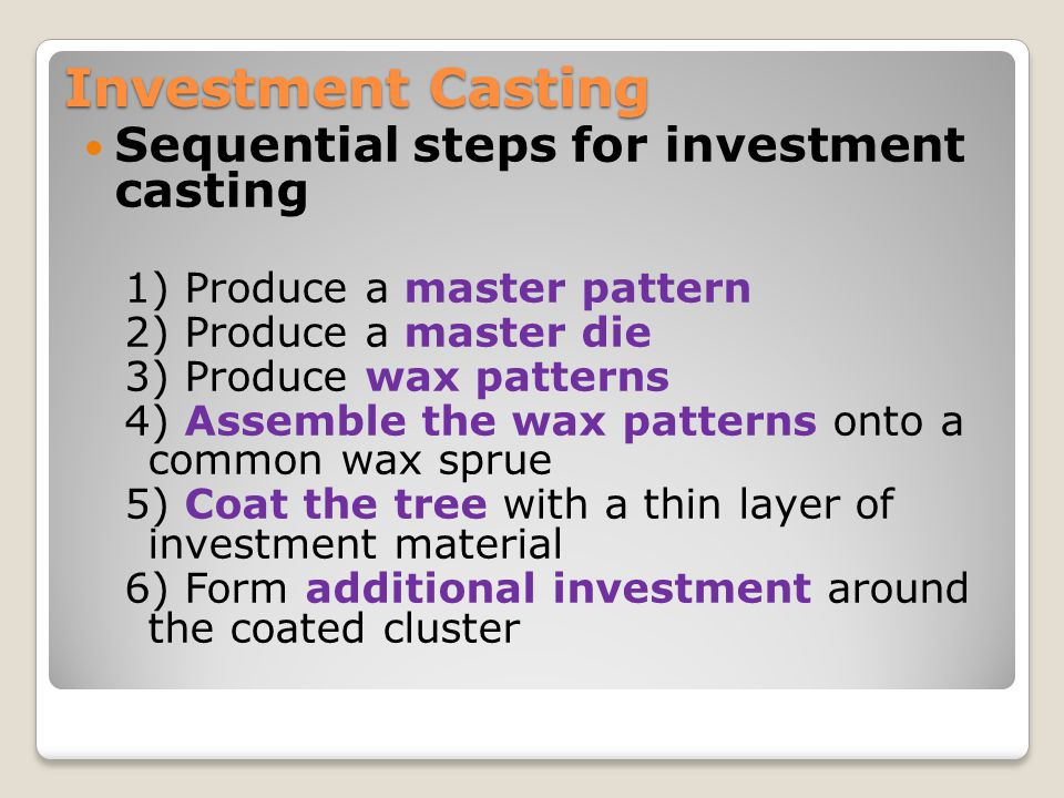 Investment Casting Sequential steps for investment casting