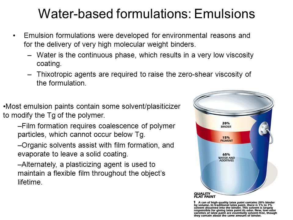 Water-based formulations: Emulsions