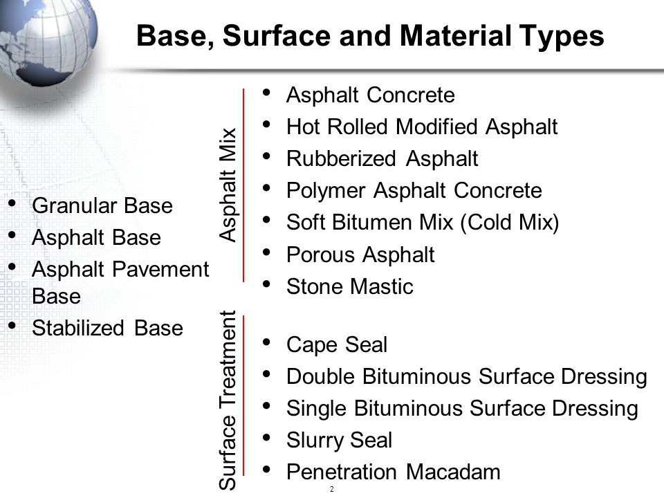 Base, Surface and Material Types
