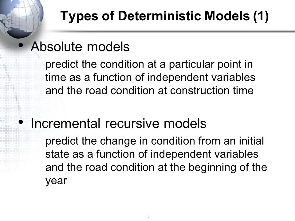 Types of Deterministic Models (1)