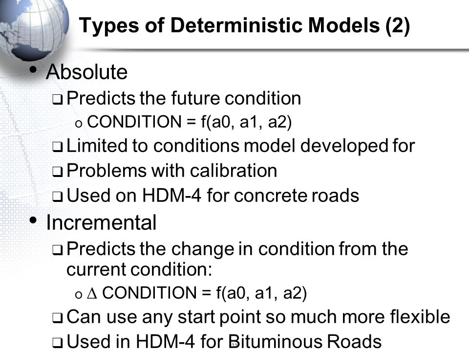 Types of Deterministic Models (2)