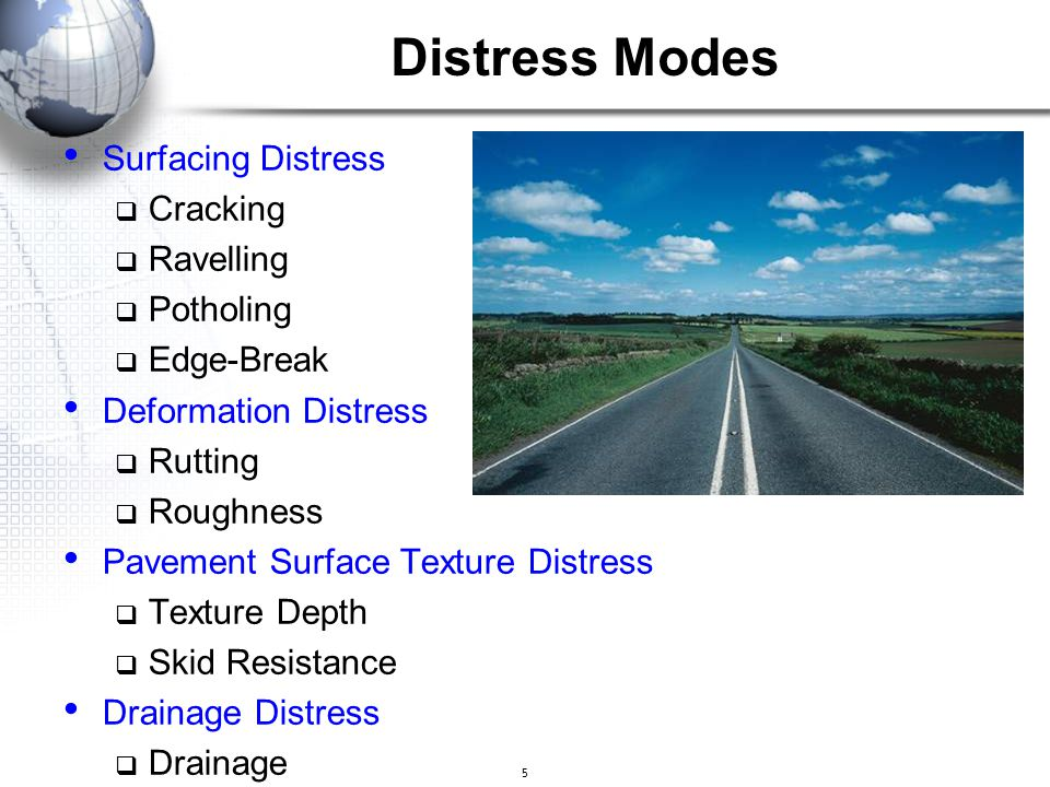 Distress Modes Surfacing Distress Cracking Ravelling Potholing