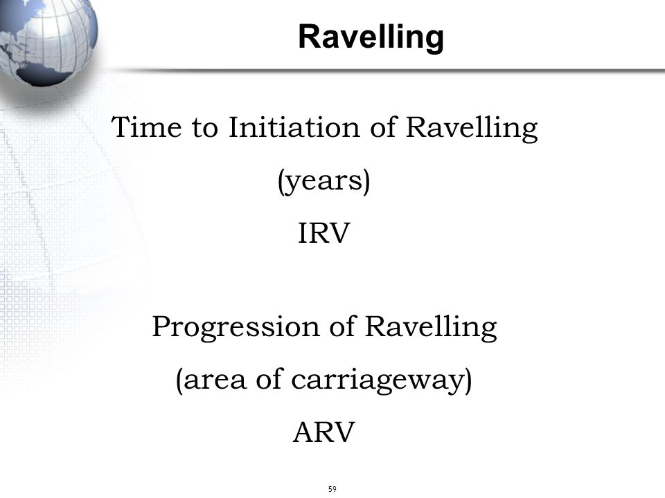 Ravelling Time to Initiation of Ravelling (years) IRV