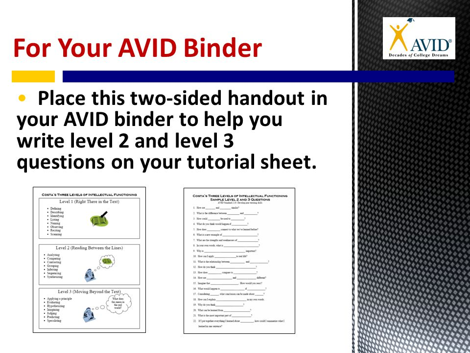For Your AVID Binder Place this two-sided handout in your AVID binder to help you write level 2 and level 3 questions on your tutorial sheet.