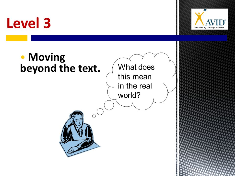 Level 3 Moving beyond the text. What does this mean in the real world
