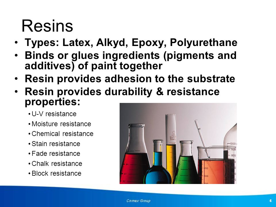 Resins Types: Latex, Alkyd, Epoxy, Polyurethane