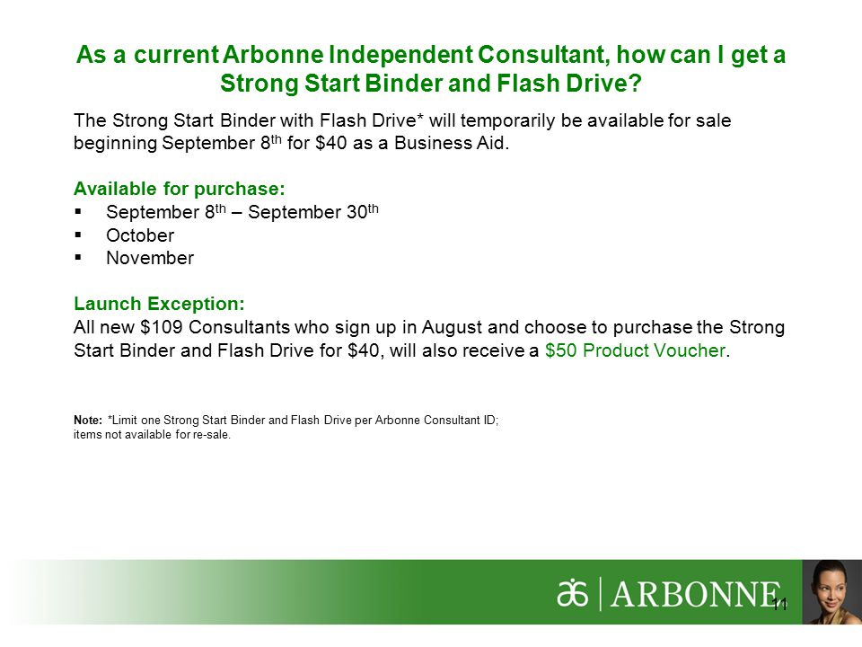 As a current Arbonne Independent Consultant, how can I get a Strong Start Binder and Flash Drive