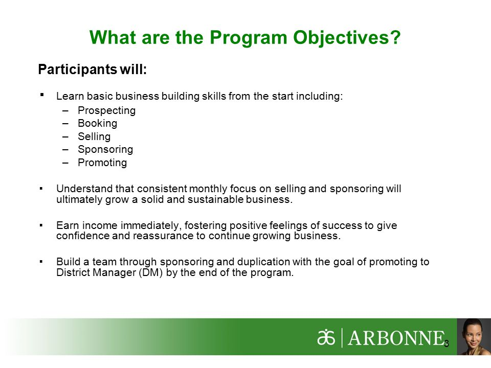 What are the Program Objectives