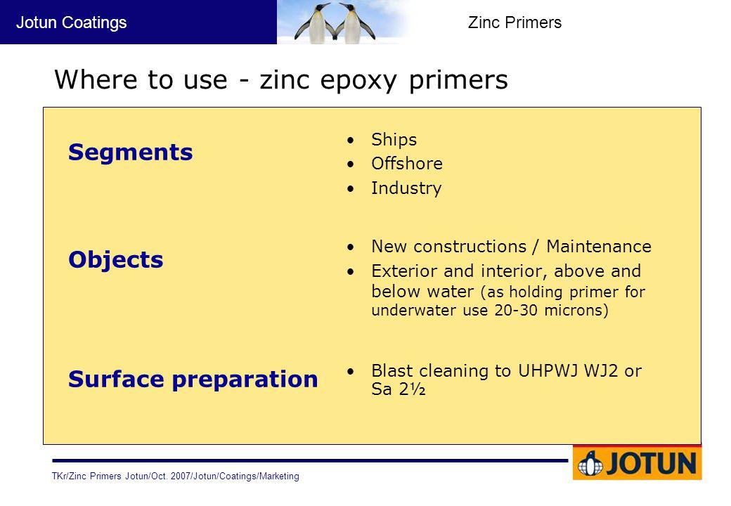 Where to use - zinc epoxy primers