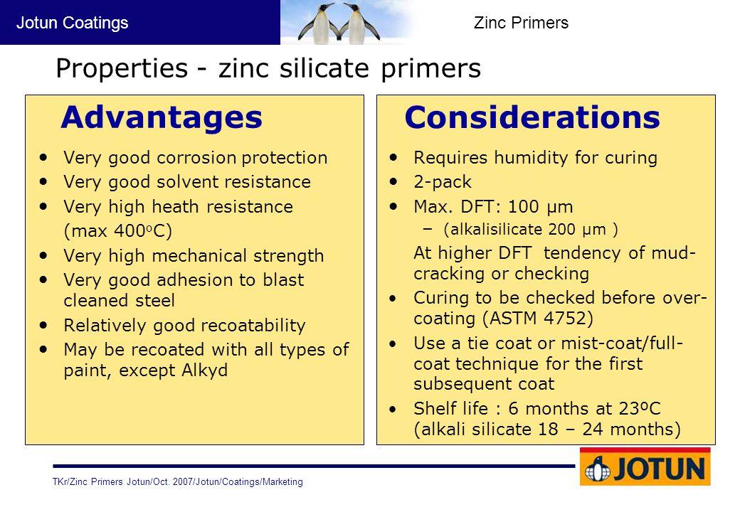 Properties - zinc silicate primers