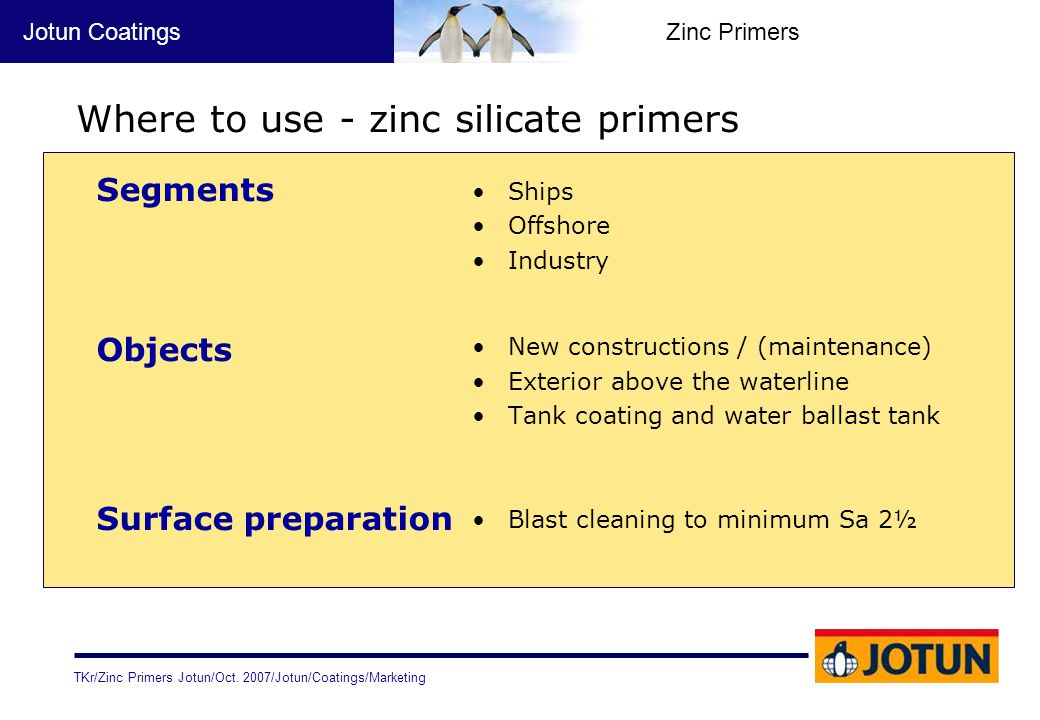 Where to use - zinc silicate primers