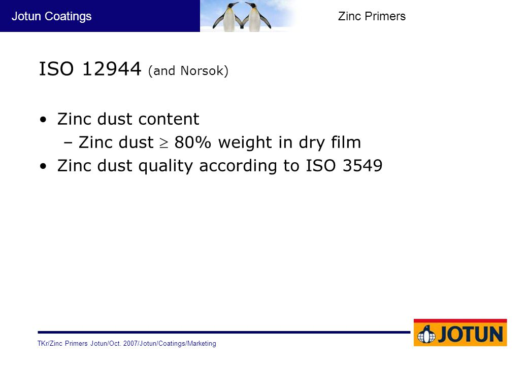 ISO 12944 (and Norsok) Zinc dust content