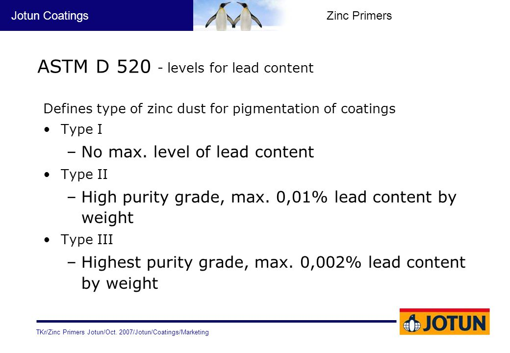 ASTM D 520 - levels for lead content