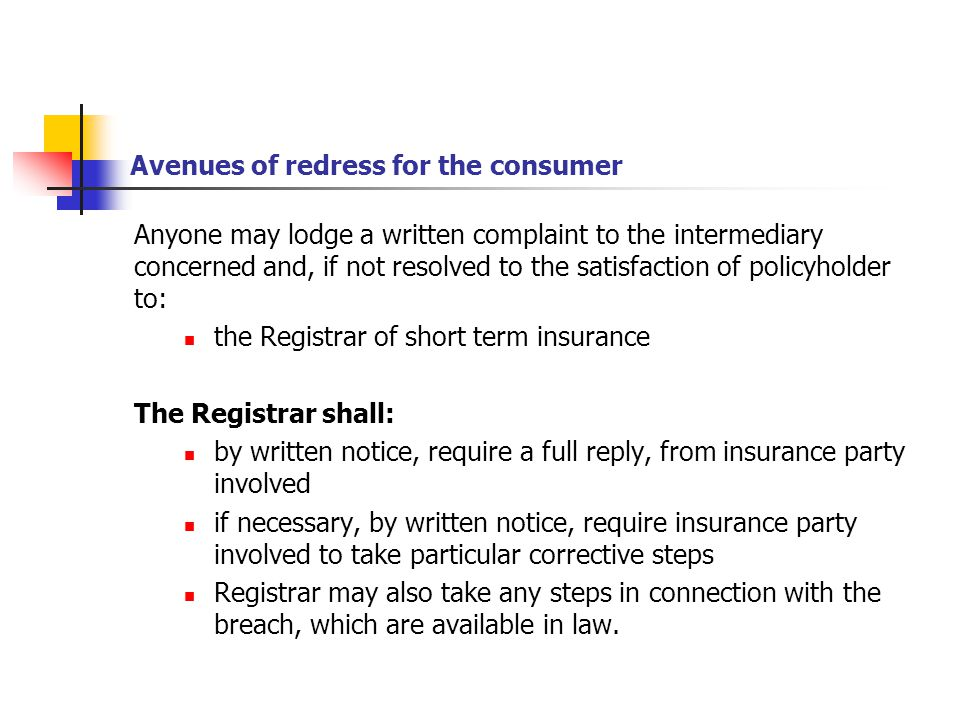 Avenues of redress for the consumer