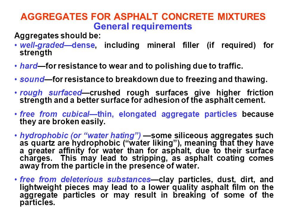 AGGREGATES FOR ASPHALT CONCRETE MIXTURES General requirements