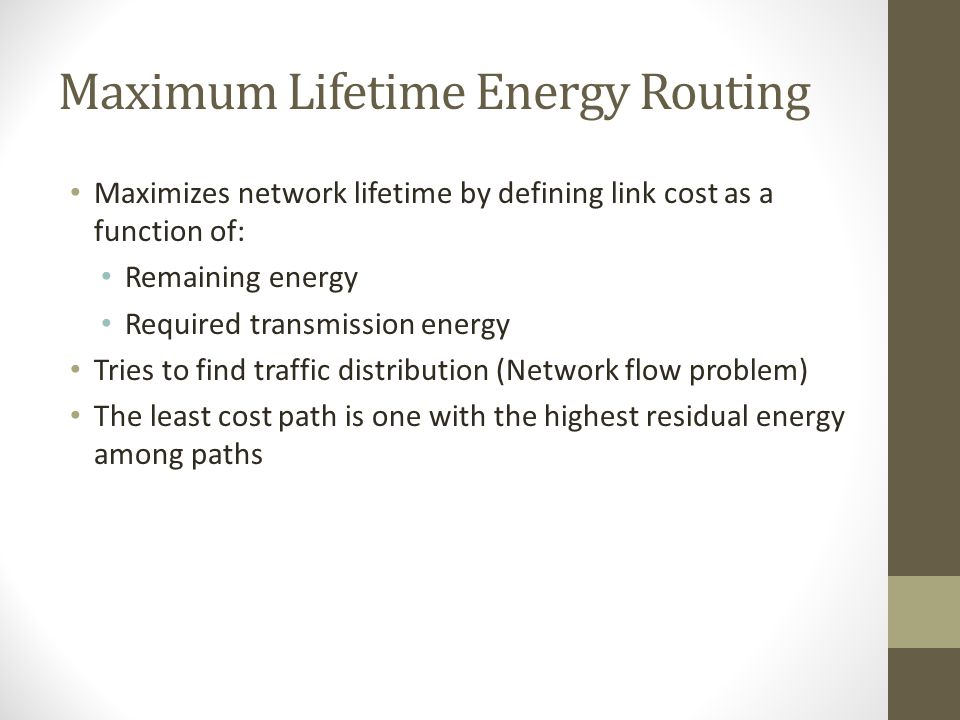 Maximum Lifetime Energy Routing