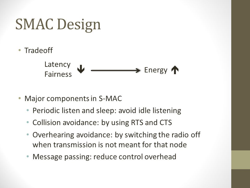 SMAC Design   Tradeoff Latency Fairness Energy